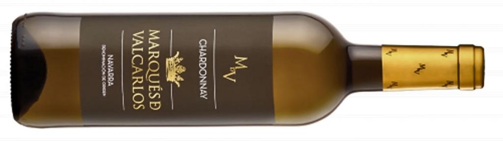Chardonnay, variedad uva, Botella vino Marques de Valcarlos Chardonnay