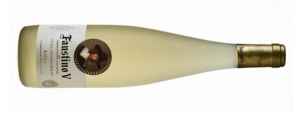 Setas y vino, Botella Faustino V Viura-Chardonnay