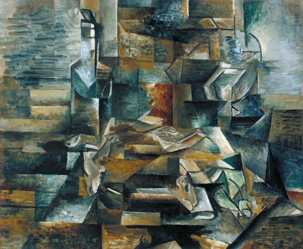 Cubismo y vino, Georges Braque, Botella y pescados