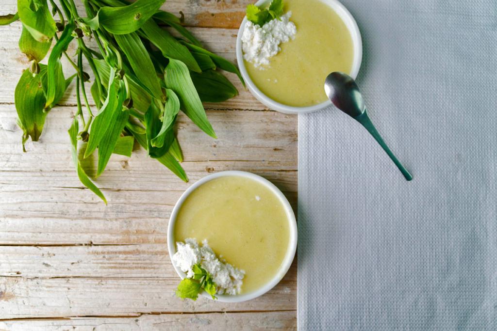 Cremas de primavera y vino, crema fria calabacin